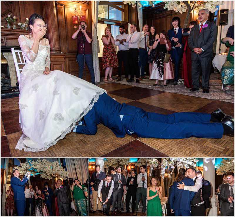Groom retrieves garter with his teeth before tossing it to his male guests