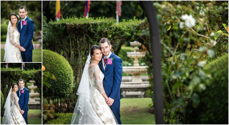 bride and groom portraits in the hotel grounds