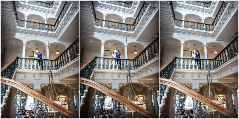 bride and groom on victorian staircase at the principal hotel york