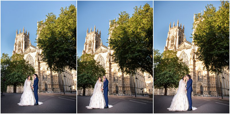 Bride and groom wedding photograph in front of York Minster